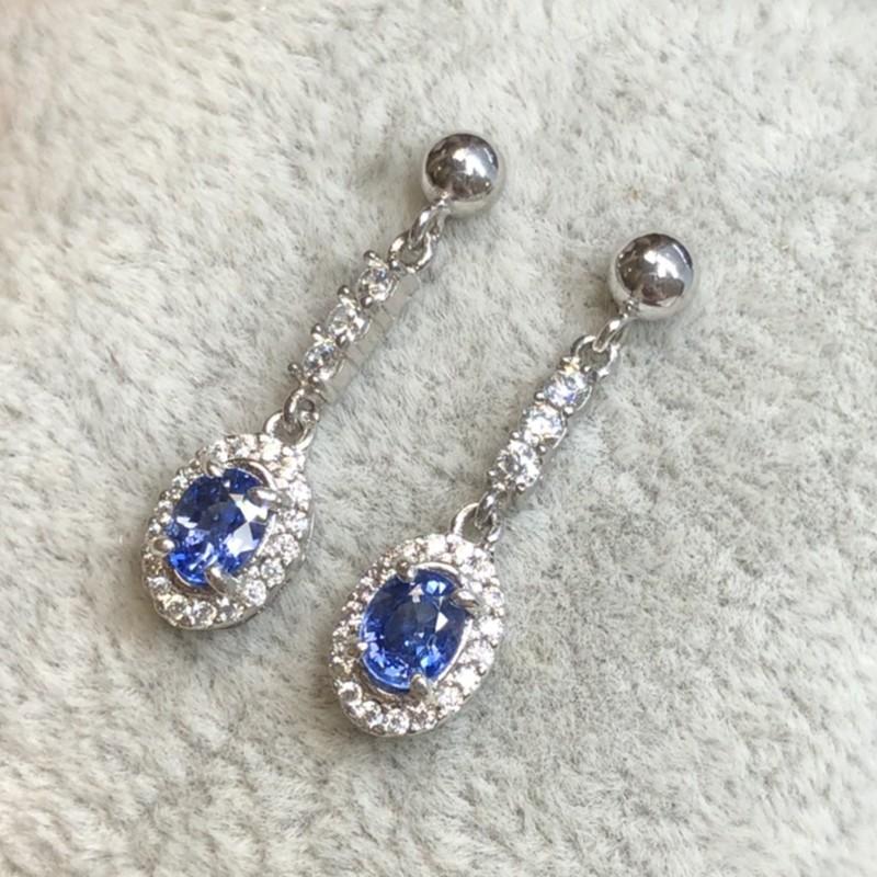公主藍寶耳環