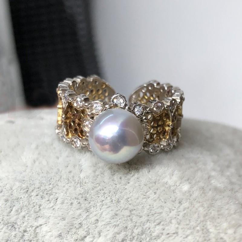 真多麻銀灰珍珠戒指