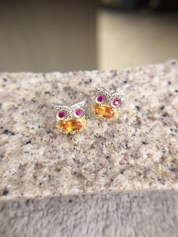 黃寶貓頭鷹耳環