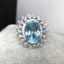 拓帕石海水藍戒指
