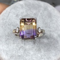 公主方紫黃晶戒