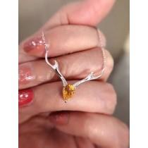 黃水晶麋鹿項鍊
