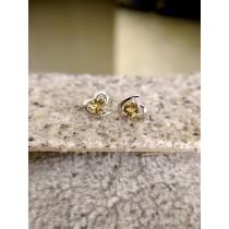 黃晶愛心耳環