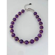 天然紫晶圓珠手鍊